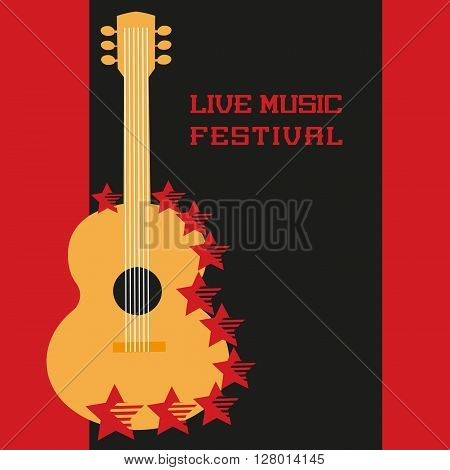 Music Festival Concept. Live music poster background. Acoustic guitar silhouette symbol. Music Festival, show, concert, live band promotion,  advertisement. Vector illustration.