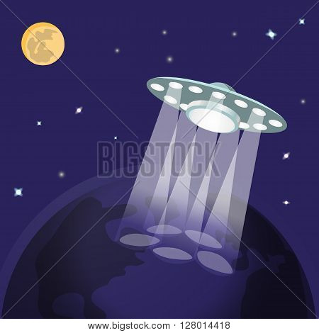 UFO ufo with light beam, planet earth from space, moon, stars. Flying saucer, Alien Spaceship invasion. UFO landing. Idea theme of galaxy, unidentified spaceship, universe. Vector illustration