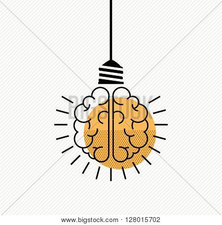 Human Brain Idea Concept In Modern Line Art Style