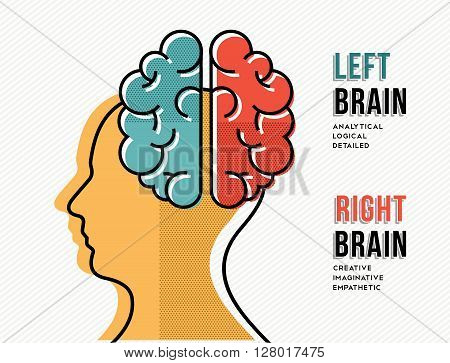 Left And Right Brain Concept With Head Silhouette