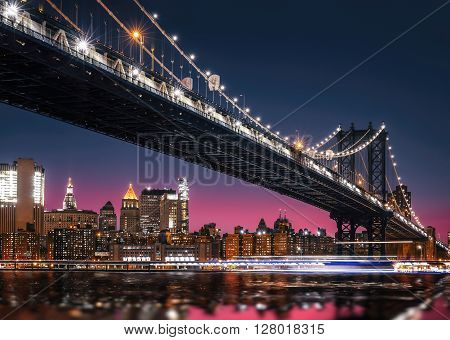Manhattan Skyline And Manhattan Bridge At Night
