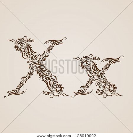 Handsomely decorated letter x in upper and lower case.