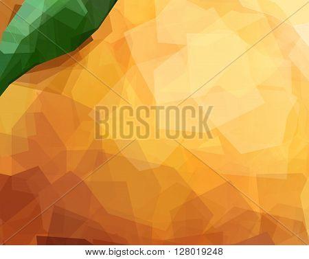 Orange fruit Peel Texture unusual polygonal background. Modern vector editable template. Fruit with leaf creative illustration