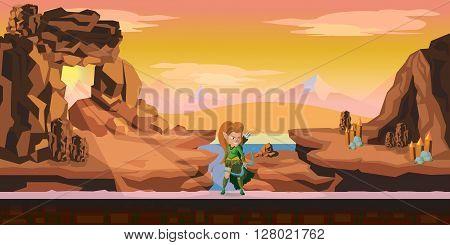 rocks game background 2d game application. Vector design