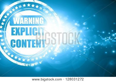 Blue stamp on a glittering background: Explicit content sign