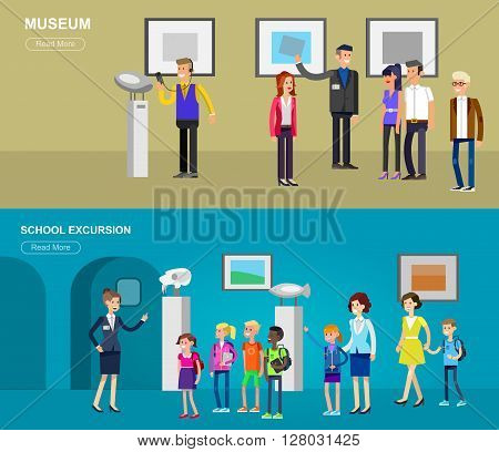 Funny character people in museum. Archeological museum of antiquity and natural science exposition for children, guided tour, exhibition space, audioguide, flat banners set