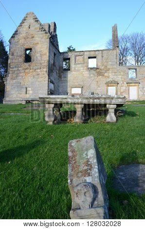 A view of an ancient graveyard and the ruins of St. Bridgets Kirk