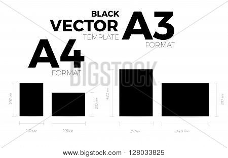 A3 and A4 page format black vector eps10 template. vertical and horizontal orientation design with A3 and A4 format size. Vector editable black page template