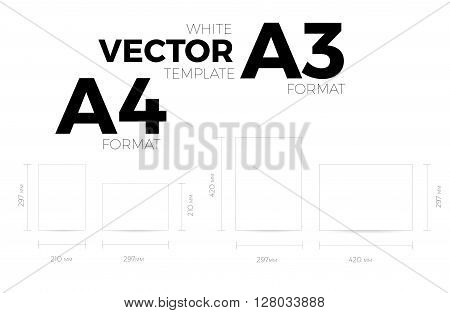 A3 and A4 page format white vector eps10 template. vertical and horizontal orientation design with A3 and A4 format size. Vector editable white page template
