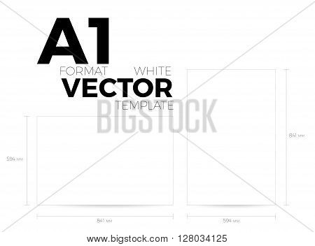 A1 page format white vector eps10 template. vertical and horizontal orientation design with A1 format size. Vector editable white page template