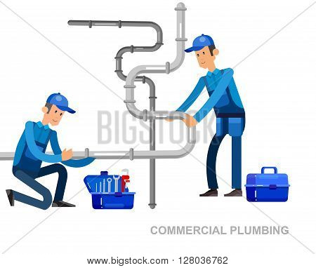 detailed character proffesional plumber men set with repair professional fixing water pipes. Concept banner plumbing servise poster