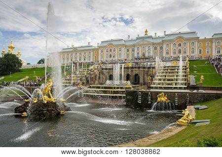 PETERHOF- JULY 07: Samson fountain and Grand Cascade on July 07 2013 Saint-Petersburg Russia. The park ensemble of Peterhof belongs to the world heritage of UNESCO