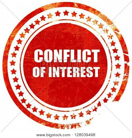 conflict of interest, grunge red rubber stamp on a solid white b