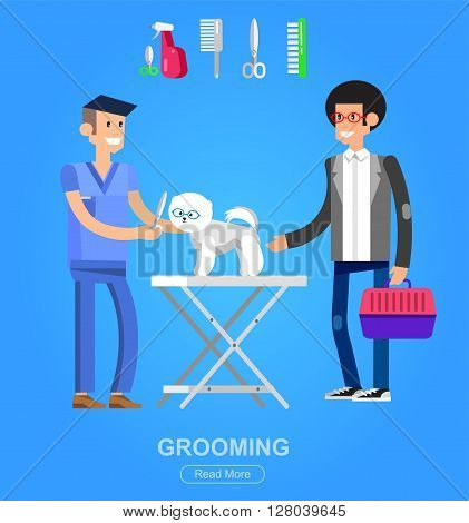 high quality character design veterinarian with dog, groomer, cuts Pomeranian, icon for grooming service
