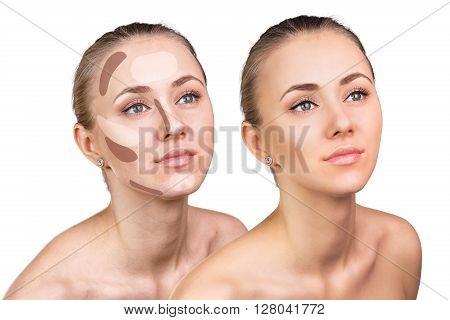 Contouring make-up on woman face. Contour and highlight makeup.