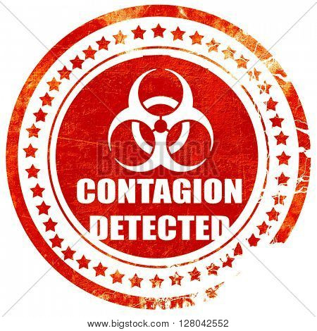 Contagion concept background, grunge red rubber stamp on a solid