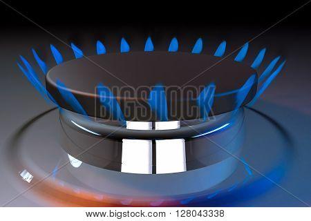 gas blue flame kitchen cook fire butane 3d rendering illustration