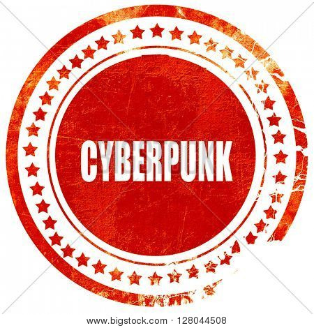 cyberpunk, grunge red rubber stamp on a solid white background