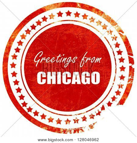 Greetings from chicago, grunge red rubber stamp  on a solid white background