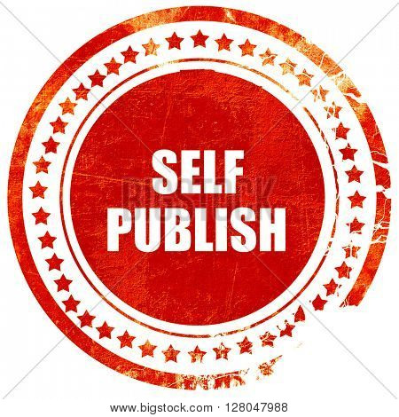 self publishing, grunge red rubber stamp on asolid white background