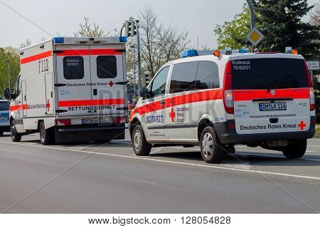 ALTENTREPTOW / GERMANY - 1. MAY 2016: german emergency ambulance (NOTARZT) car stands on the street in altentreptow on may 2016.