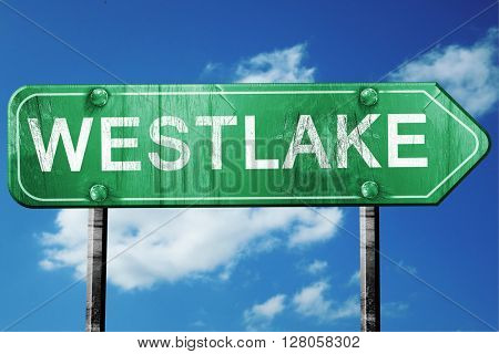 westlake road sign , worn and damaged look