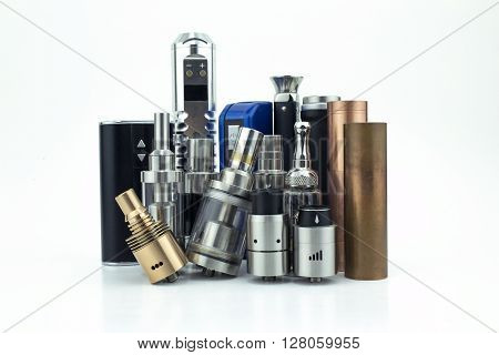 E-cigarette heads & batteries isolated on white
