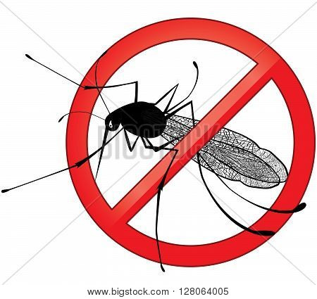 No mosquito gnat insect vector sign. Carry many disease such as dengue fever zika virus yellow fever chikungunya disease filariasis malaria enchaphalitits.