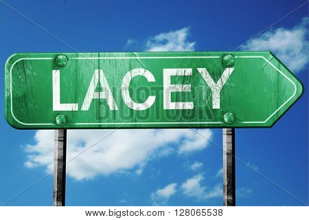 lacey road sign , worn and damaged look
