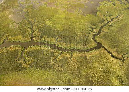 Aerial view of tributary on Bald Head Island, North Carolina.