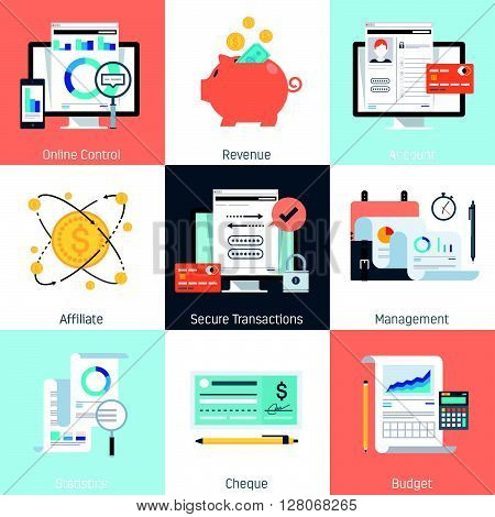 Banking And Finance Theme, Flat Style, Colorful, Vector Icon Set