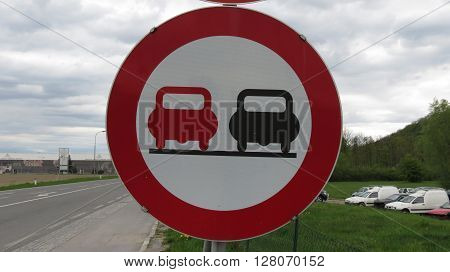 Regulatory signs No overtaking traffic sign on the street