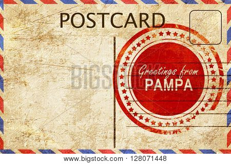 pampa stamp on a vintage, old postcard