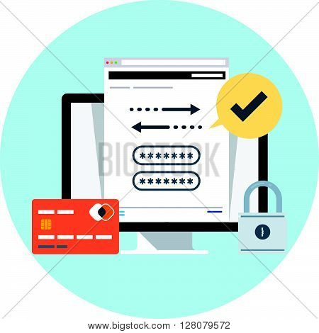 Security And Transactions Flat Style, Colorful, Vector Icon