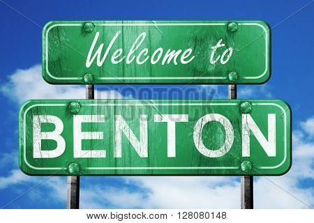 benton vintage green road sign with blue sky background
