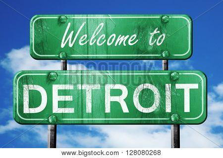 detroit vintage green road sign with blue sky background