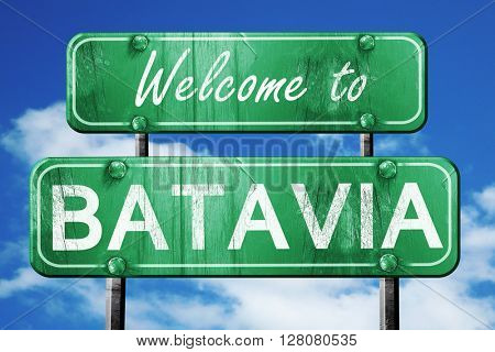 batavia vintage green road sign with blue sky background