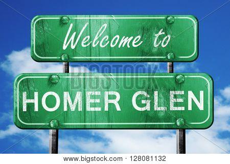 homer glen vintage green road sign with blue sky background