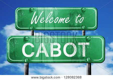 cabot vintage green road sign with blue sky background
