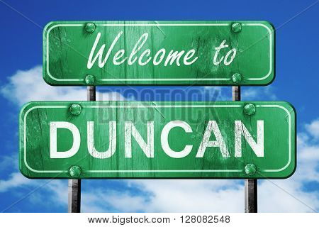 duncan vintage green road sign with blue sky background