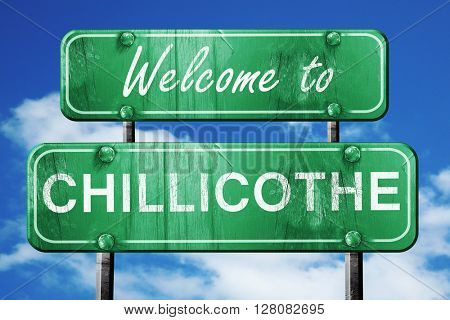 chillicothe vintage green road sign with blue sky background
