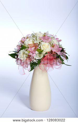 beautiful wedding bouquet isolated on white background