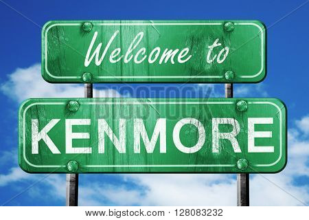 kenmore vintage green road sign with blue sky background