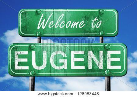 eugene vintage green road sign with blue sky background