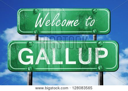 gallup vintage green road sign with blue sky background