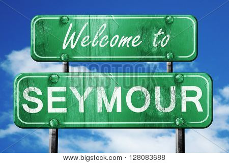 seymour vintage green road sign with blue sky background