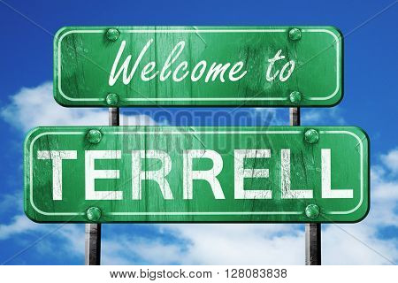 terrell vintage green road sign with blue sky background