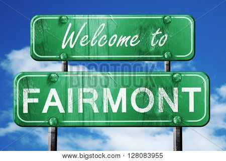 fairmont vintage green road sign with blue sky background