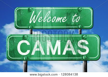 camas vintage green road sign with blue sky background
