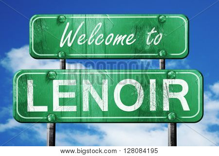 lenoir vintage green road sign with blue sky background